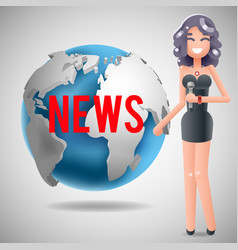 News journalist reporting reporter female girl vector