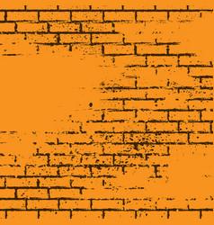 orange grunge brick wall vector image