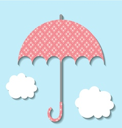 Paper umbrella with clouds vector image vector image