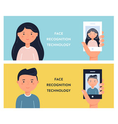 People faces and smartphone screens face vector