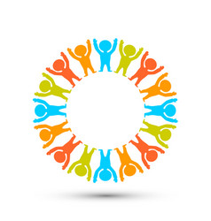 people in a circle on the white background vector image