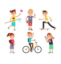 Playing children with toys happy kids in vector