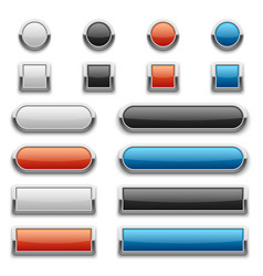 red blue black and white glossy buttons vector image