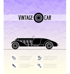 Retro cabriolet sport car vintage outline style vector