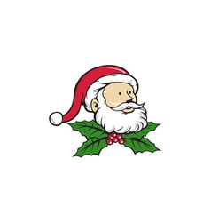 Santa claus father head christmas holly cartoon vector