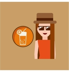 Vacation woman cocktail summer vector