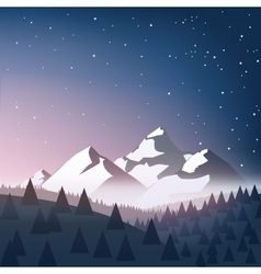 Winter landscape with snow mountains sky stars vector