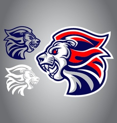 lion blue red logo vector image