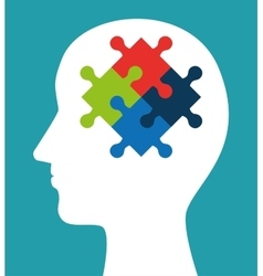 Silhouette head puzzle creativity icon vector