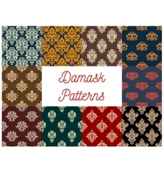Damask floral seamless patterns set vector