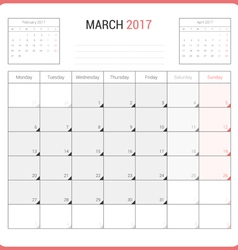 Calendar planner for march 2017 vector
