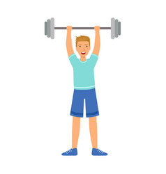 Strong man holding barbell on the raised hands vector