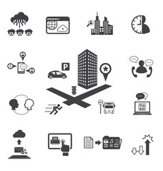 Big data icons set business and technology vector