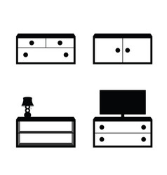 Furniture set in black and white color vector