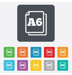 Paper size a6 standard icon document symbol vector