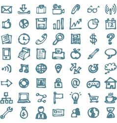 Blue business hand drawn doodles highligher icons vector
