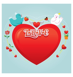 Couple Birds with Heart Shape vector image