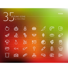 Healthy food outline icons set vector