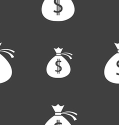 Money bag icon sign seamless pattern on a gray vector