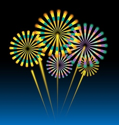 Beautiful fireworks on dark blue vector