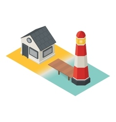 Isometric lighthouse building 3d icon vector