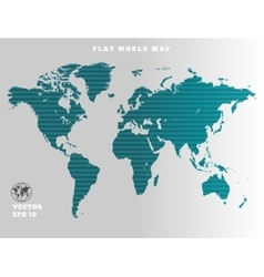 World map striped turquoise map silhouette on vector