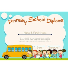 Primary school diploma with schoolbus and kids vector image