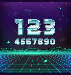 80s Retro Sci-Fi Numbers vector image