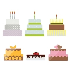 Birthday cake flat icon set for your design vector