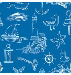 pattern with marine objects vector image