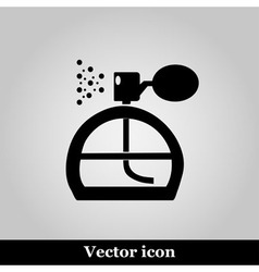 Perfume icon on grey background vector