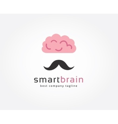 Abstract brain with mustache logo icon concept vector