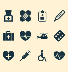 Antibiotic icons set collection of drug analyzes vector