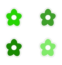 assembly realistic sticker design on paper flower vector image