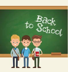 Back to school students boy chalkboard text vector