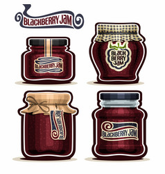 Blackberry jam in glass jars vector