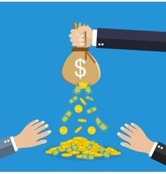 businessman hand holding money bag vector image