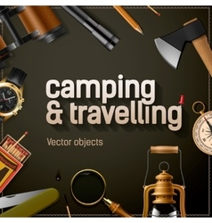 Camping and travelling template vector