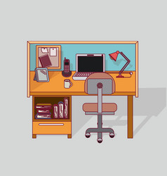 Colorful background work place home office vector