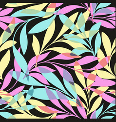 Colorful leaves on a black background vector