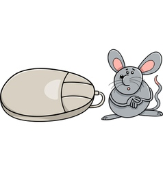 Computer mouse and real rodent cartoon vector