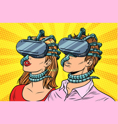 couple man and woman in virtual reality vector image