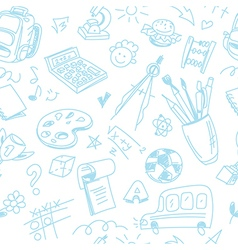 Creative seamless school pattern with blue pen vector