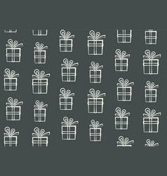 cute outline white gift boxes pattern vector image