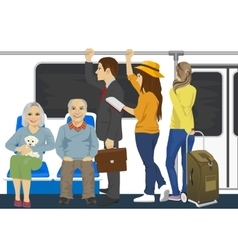 Diverse people inside metro subway train vector
