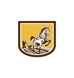 Farmer and horse plow farm crest woodcut retro vector
