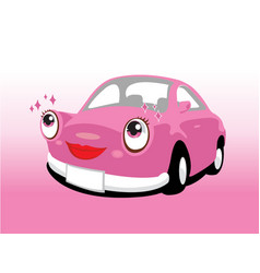 Funny smiling cute pink car vector