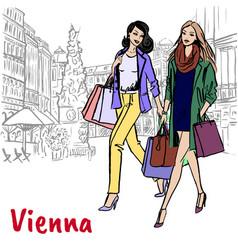 girlfriends in vienna vector image