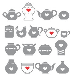grey kitchen pots vector image vector image