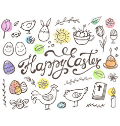 Hand drawn easter doodle elements vector
